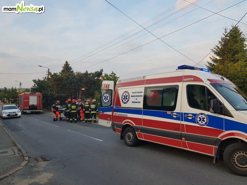 Wypadek w Andrychowie. Zderzenie motocyklisty z rowerzystą [FOTO] [AKTUALIZACJA]