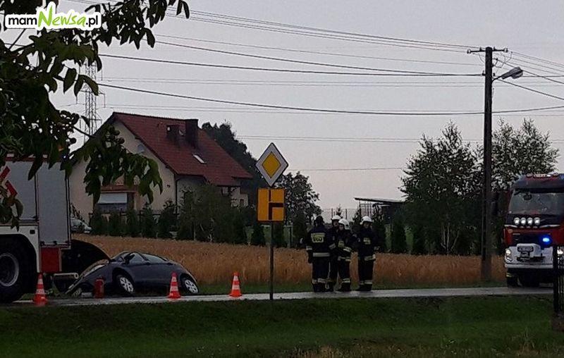 Dwa zdarzenia drogowe, pożar, połamane drzewa