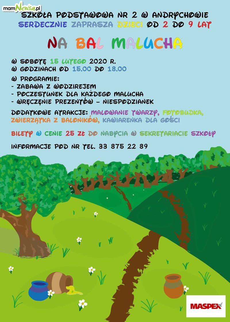 Zaproszenie na doroczny Bal Malucha w SP nr 2 w Andrychowie