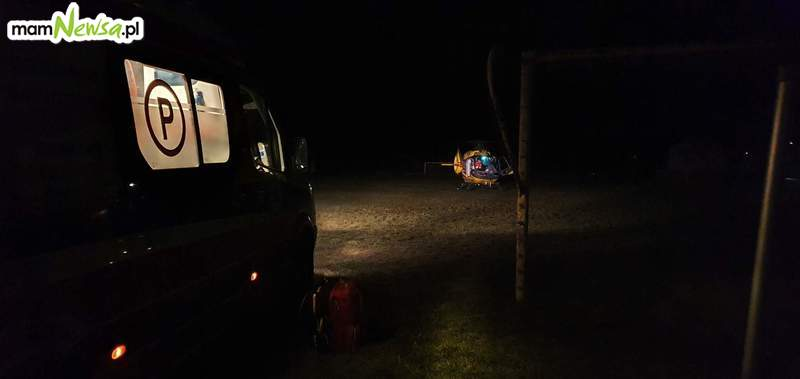 Nocne lądowanie śmigłowca ratowniczego w Andrychowie