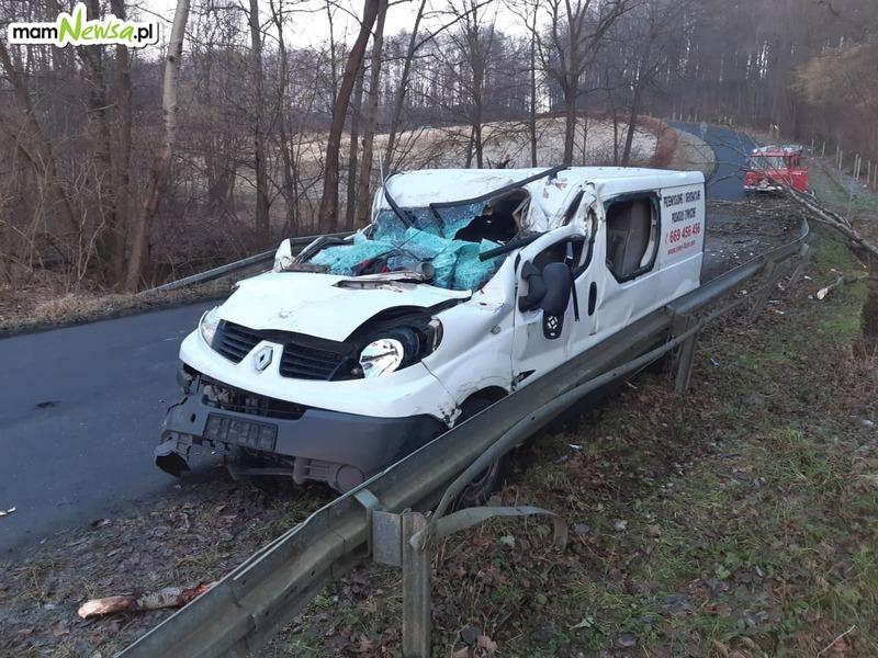 Dramatyczna sytuacja kierowcy, na którego auto runęło drzewo