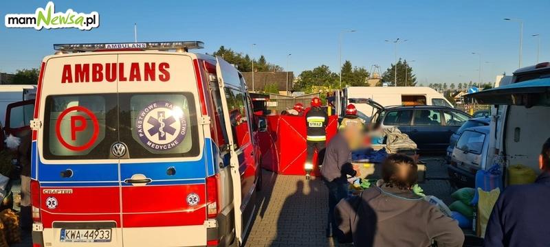 Akcja ratownicza na targu w Andrychowie
