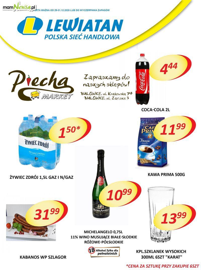 Promocje w sklepach Lewiatan Piecha w Bulowicach w dniach 29-31.12.2020r.