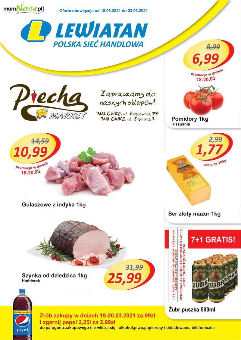 Lewiatan Piecha Market w Bulowicach. Gazetka 18-23 marca