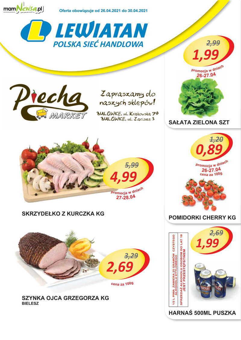 Lewiatan Piecha Market w Bulowicach. Promocje 26-30 kwietnia