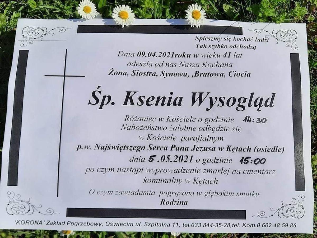 5 maja pogrzeb Kseni z Kęt