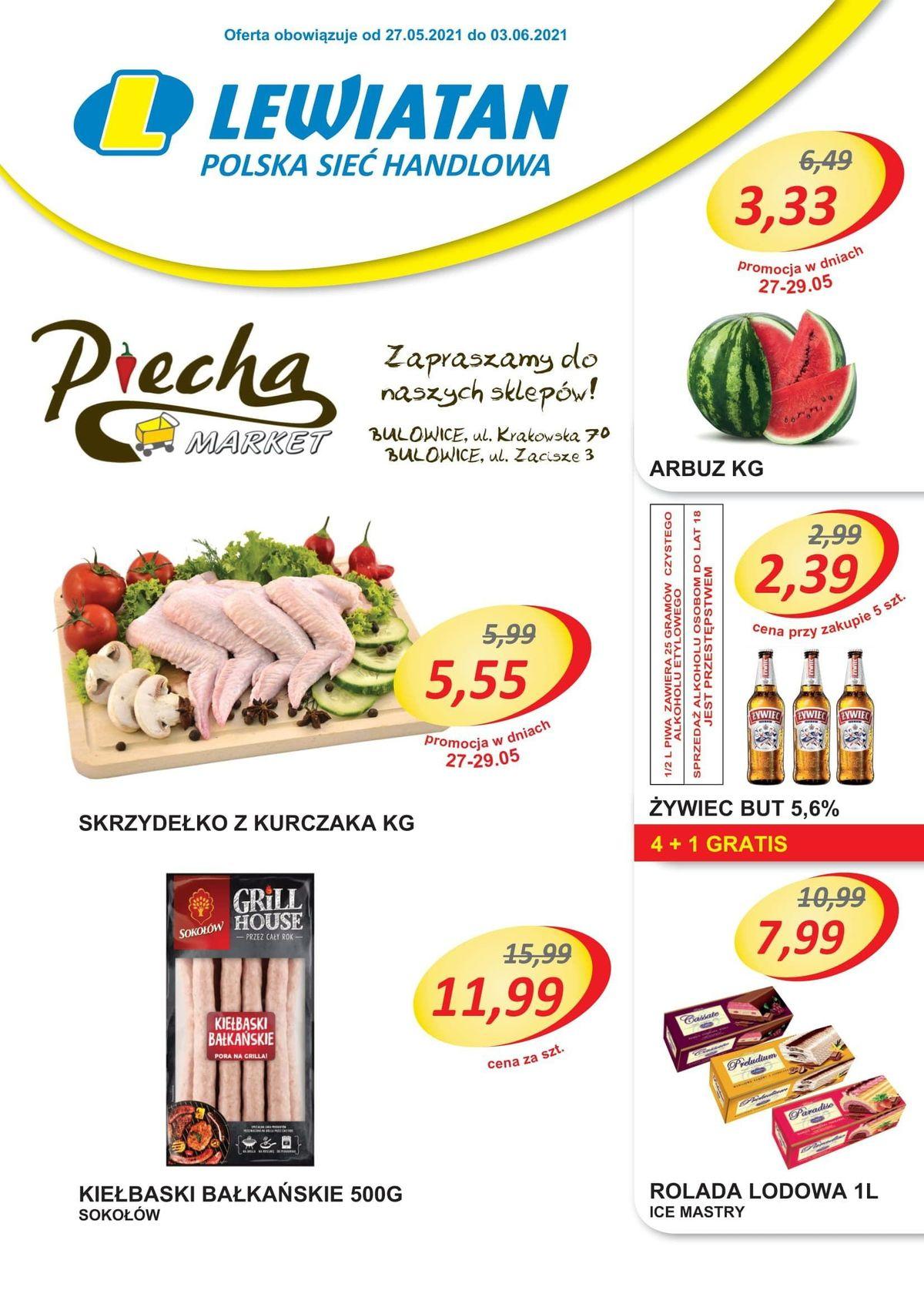 Lewiatan Piecha Market w Bulowicach. Promocje 27 maja - 3 czerwca
