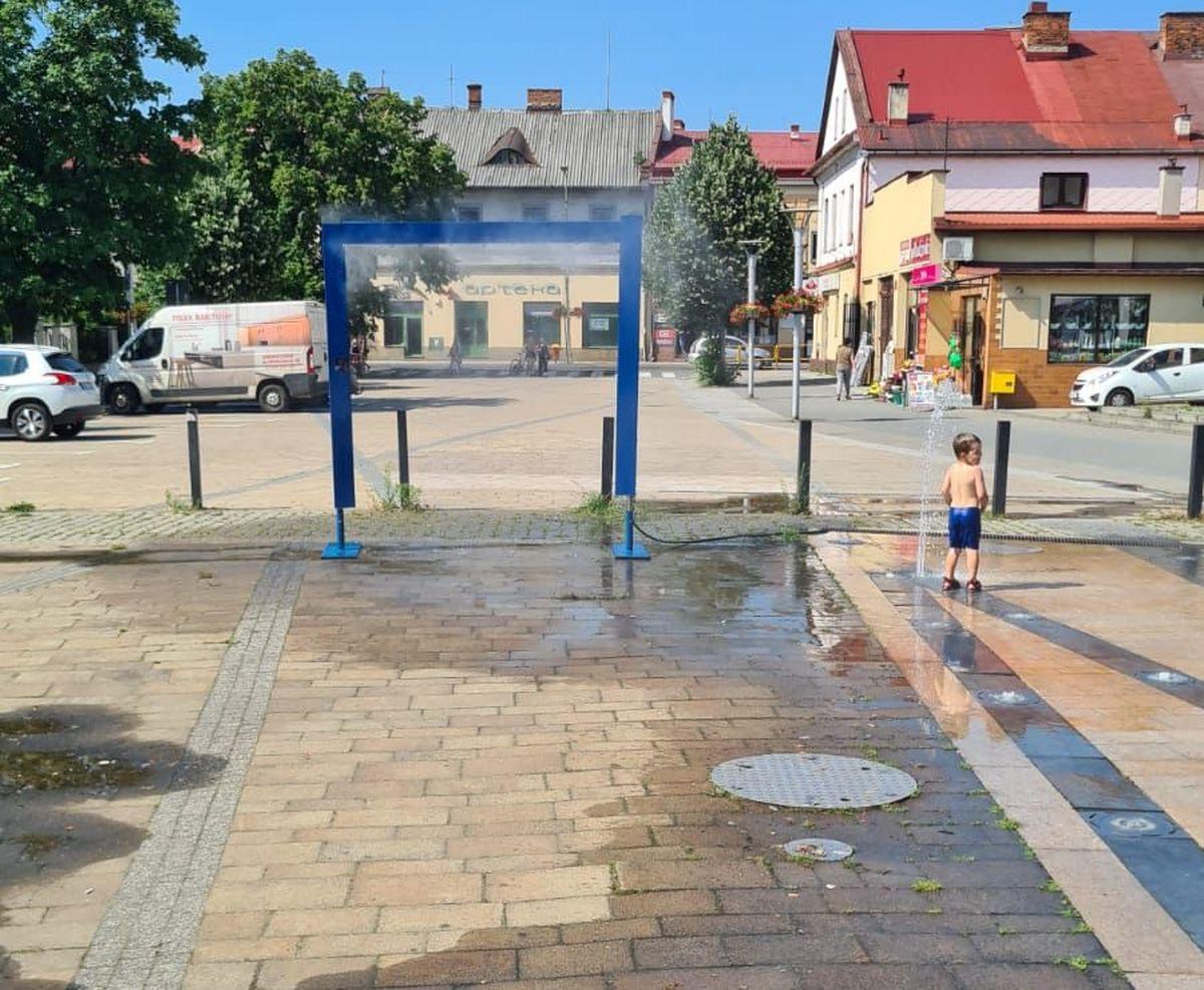 Kurtyna wodna na placu Mickiewicza