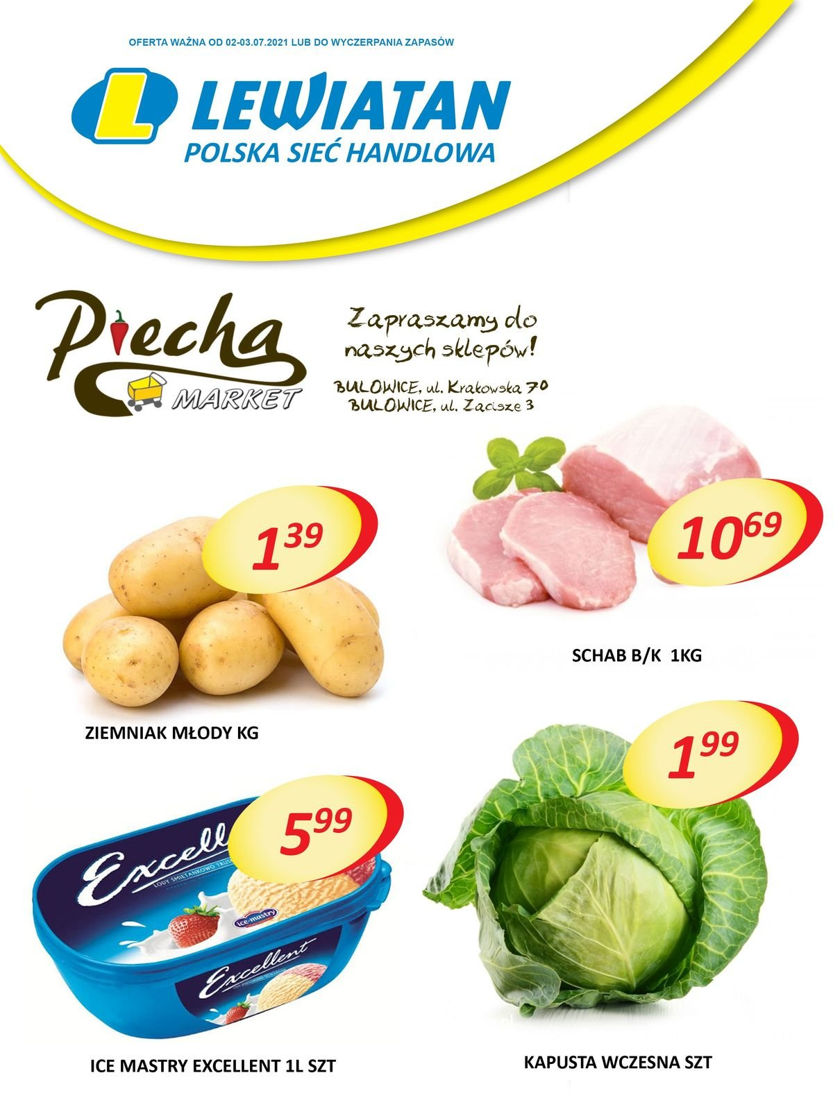 Lewiatan Piecha Market w Bulowicach. Promocje 2-3 lipca