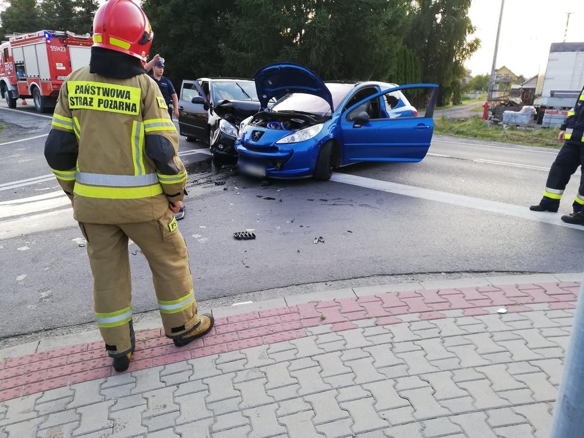 Wypadek na trasie Wadowice - Andrychów
