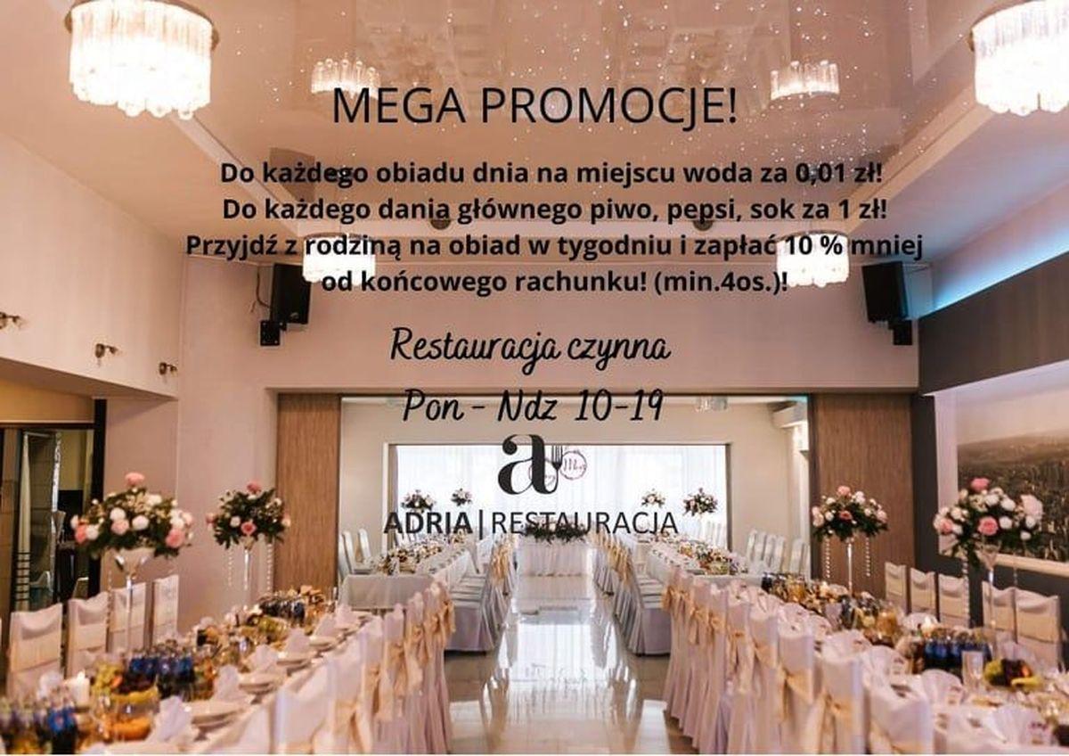 MEGA PROMOCJE. Promocje które się łączą w Restauracji Adria w Andrychowie!