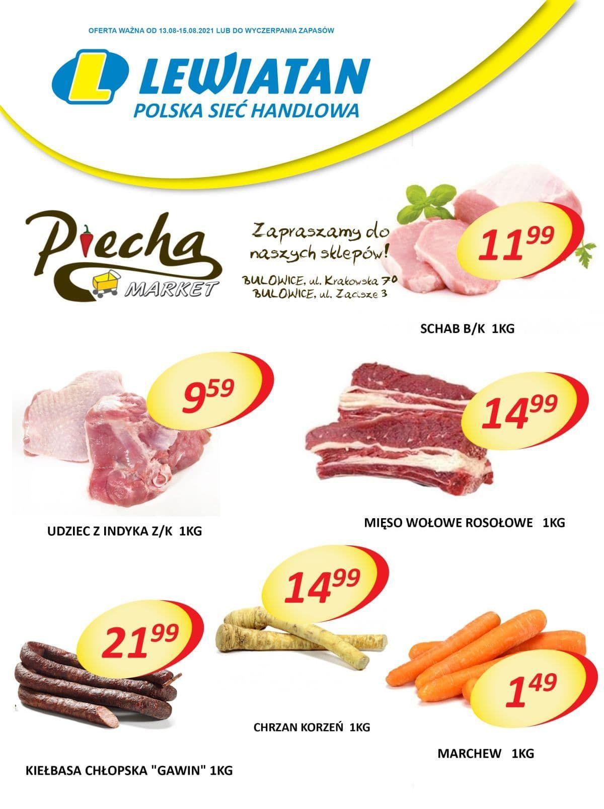 Lewiatan Piecha Market w Bulowicach. Promocje 13-15 sierpnia
