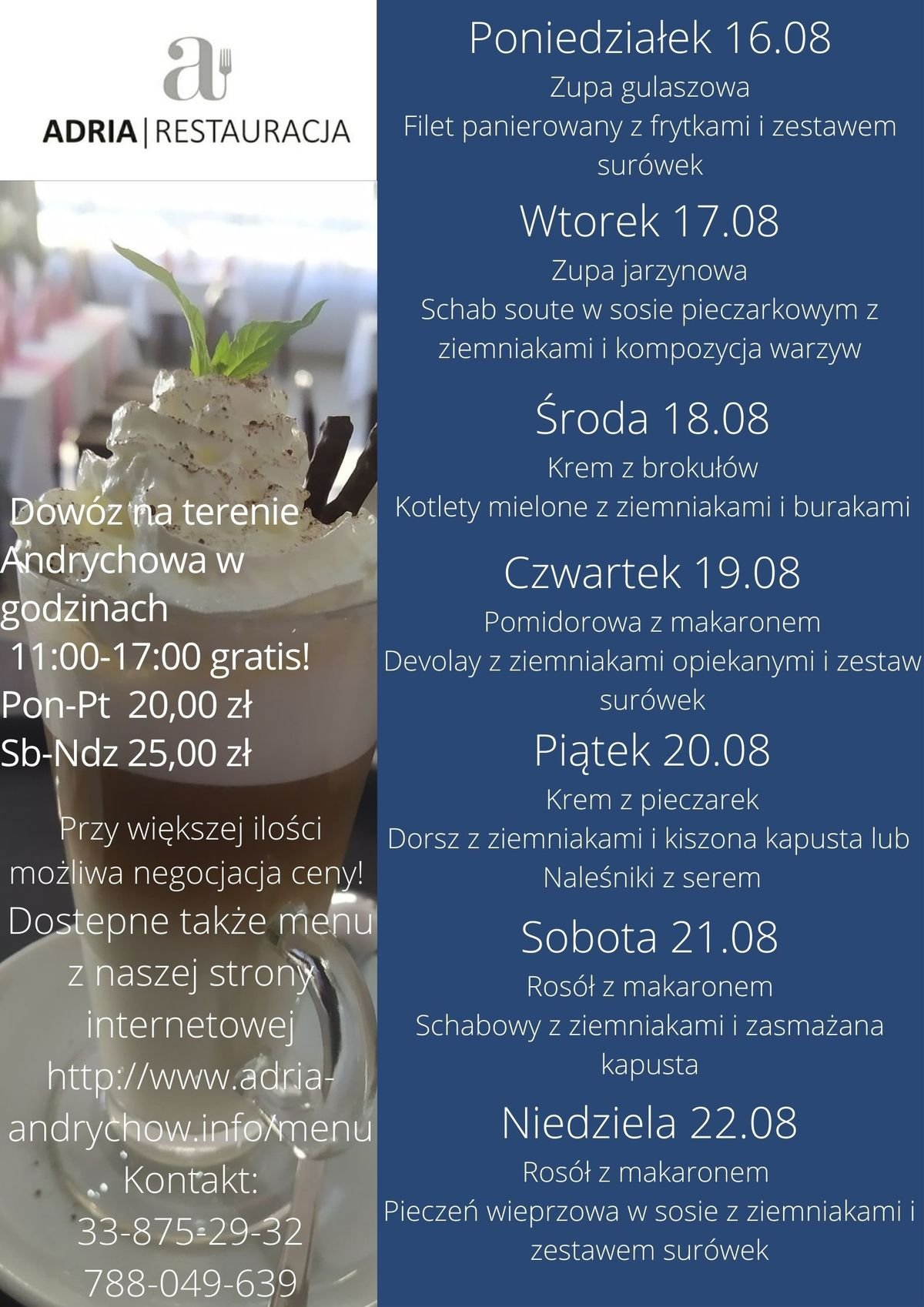 Menu Tygodniowe i Dancing w restauracji Adria w Andrychowie