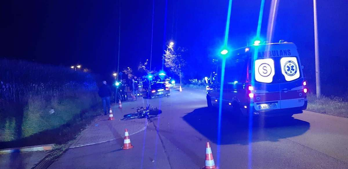 Kolizja i wypadek, poszkodowany motocyklista