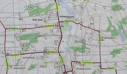 Cała gmina Wieprz z nazwami ulic