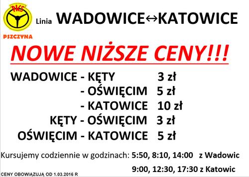 Nowe niższe ceny na przejazdy na trasie Wadowice - Katowice