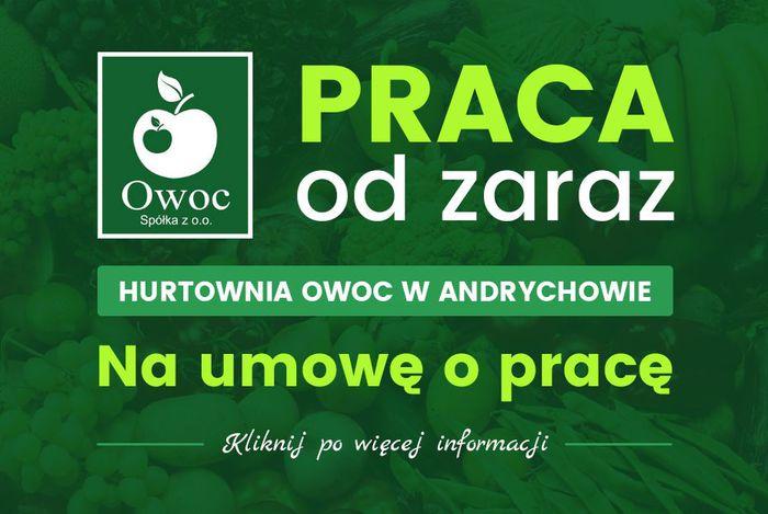 Hurtownia OWOC z Andrychowa zatrudni pracownika na stanowisko Kierowca - Magazynier