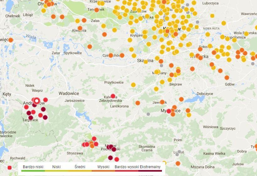 Powietrze w Andrychowie i Makowie Podhalańskim gorsze niż w Krakowie