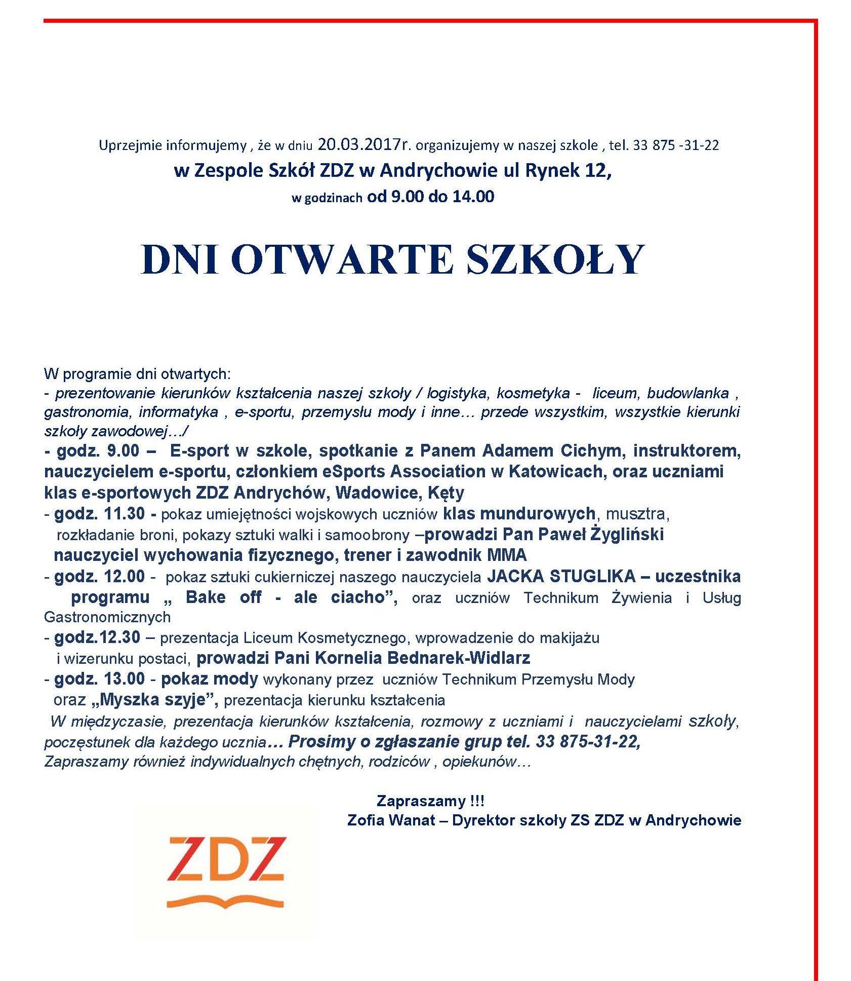 20 marca Dzień Otwarty w Zespole Szkół ZDZ w Andrychowie