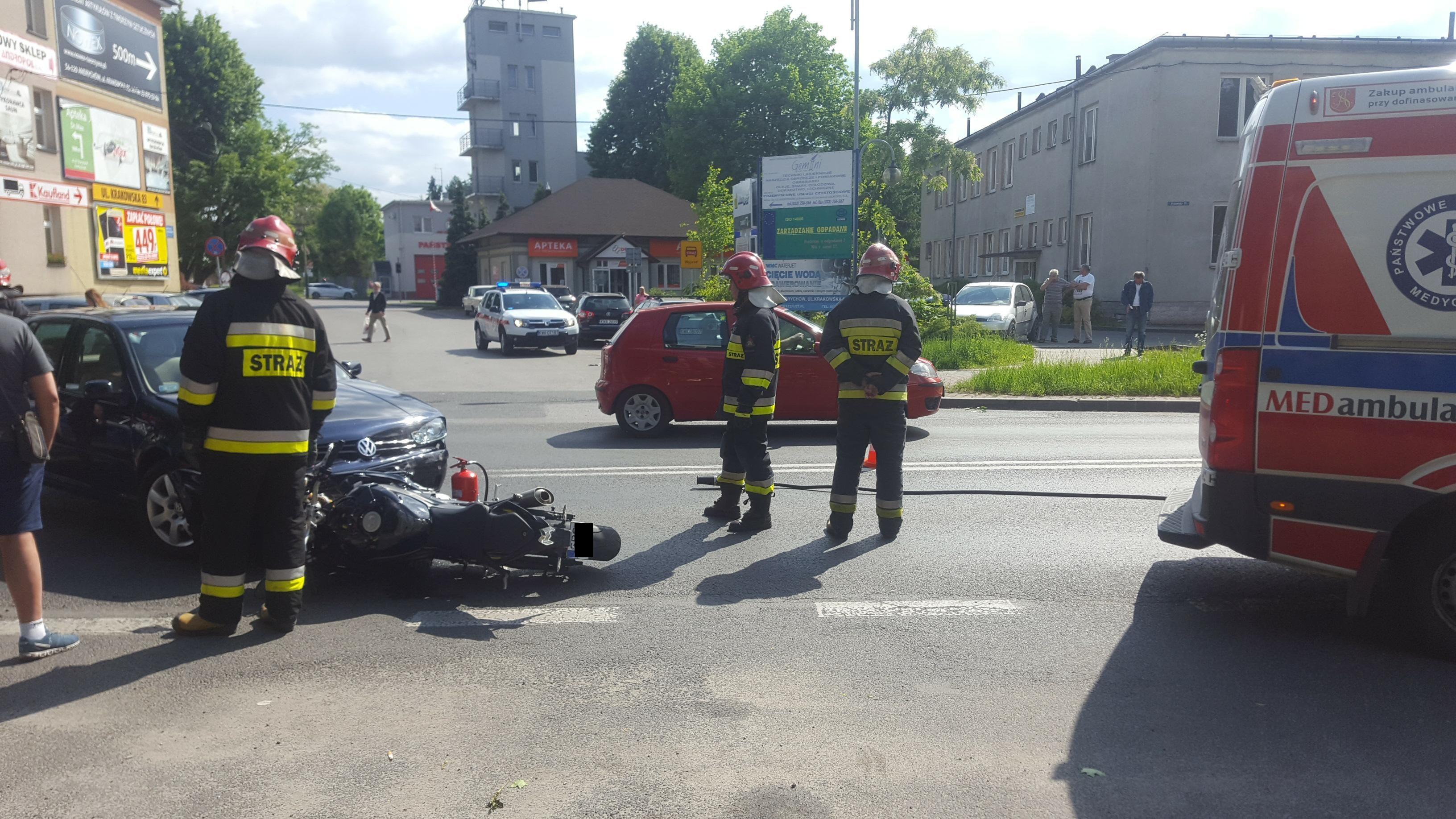 Wypadek na Krakowskiej z udziałem motocyklisty [FOTO]