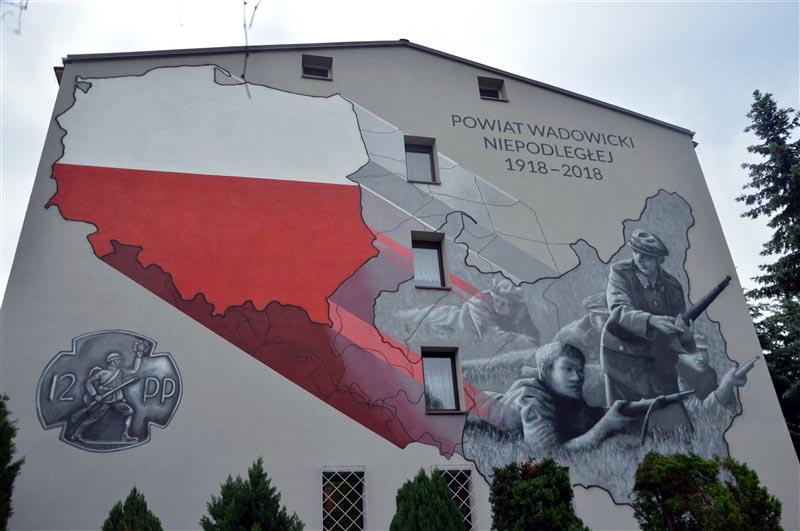 Tak wygląda patriotyczny mural na ścianie DPS