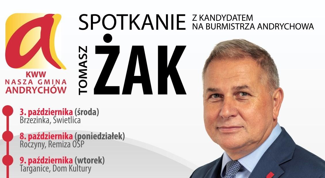 Kandydat na burmistrza Andrychowa Tomasz Żak zaprasza na spotkania