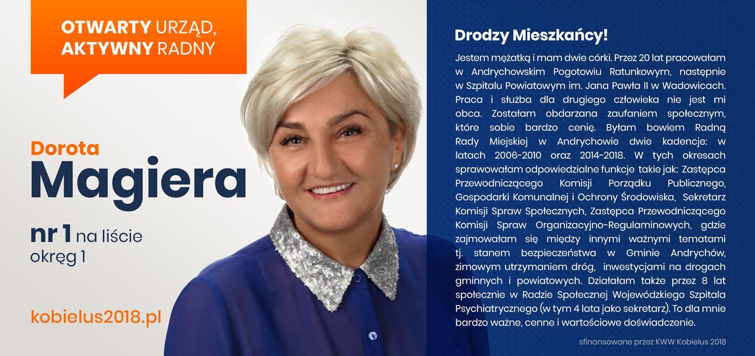 Dorota Magiera - kandydatka do Rady Miejskiej w Andrychowie z KWW Kobielus 2018