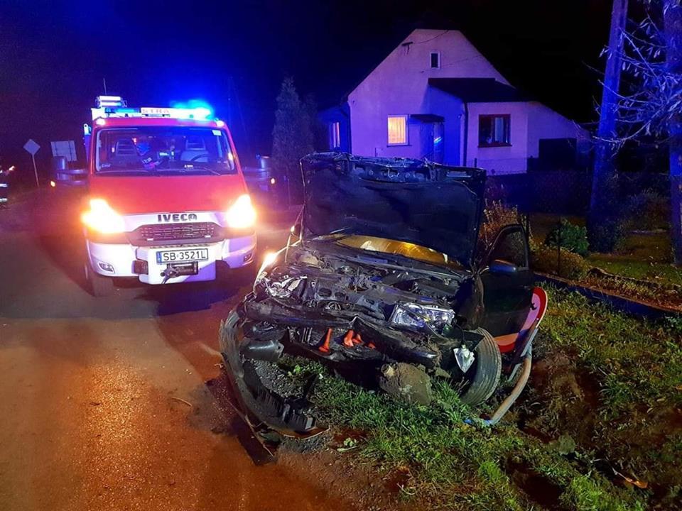 Dwie osoby poszkodowane w nocnym wypadku