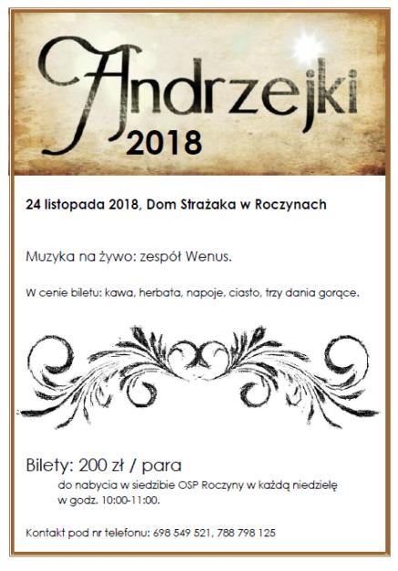OSP Roczyny zaprasza na Zabawę Andrzejkową!