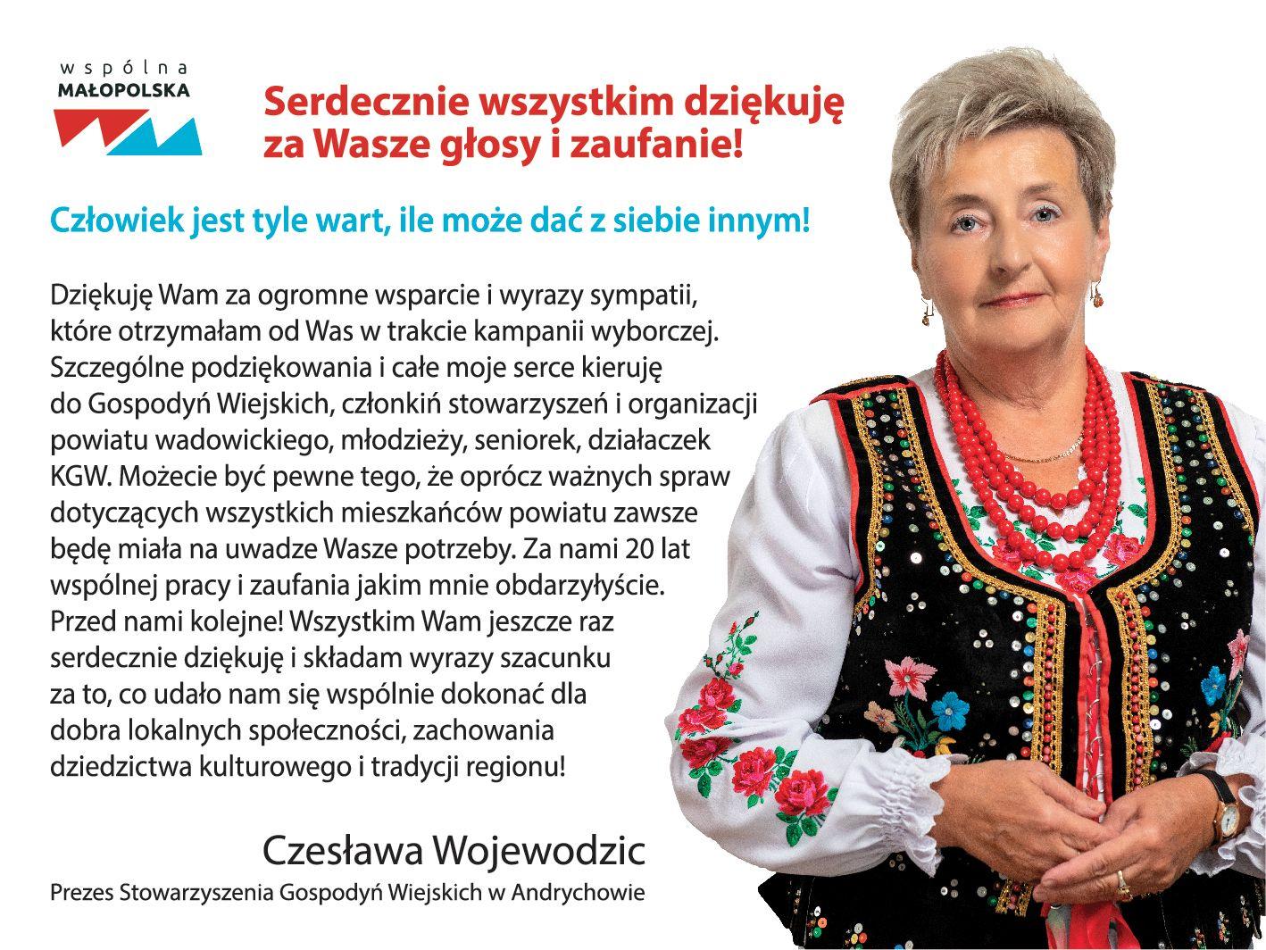 Podziękowanie od Czesławy Wojewodzic
