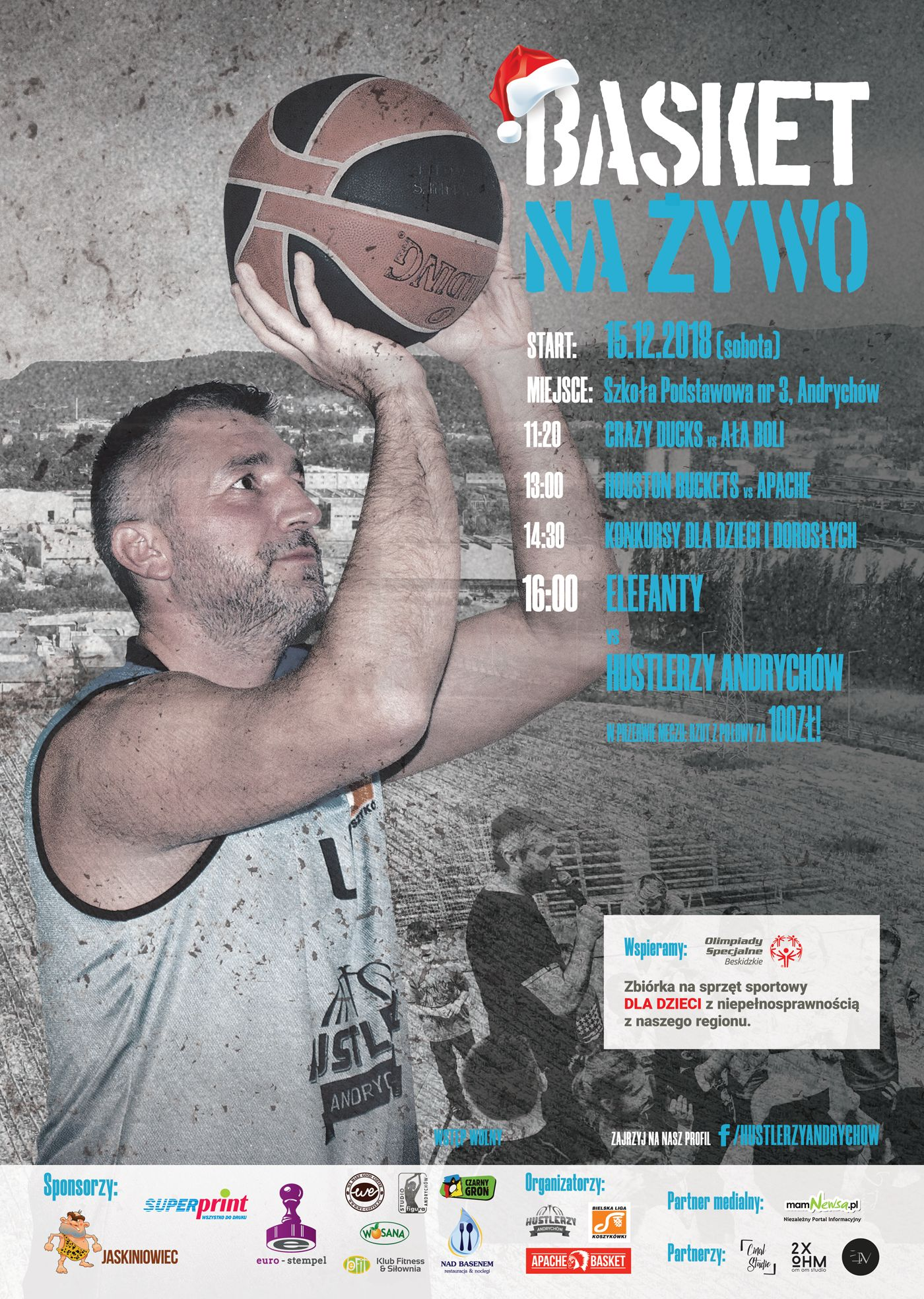 Kolejny Basket na Żywo w Andrychowie. 15 grudnia edycja mikołajkowa.