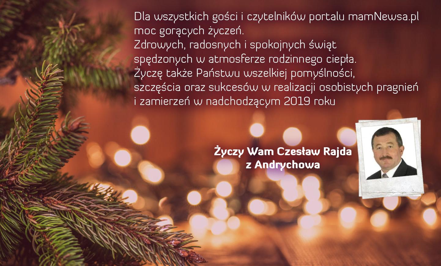 Życzenia świąteczne i noworoczne od radnego Czesława Rajdy z Andrychowa
