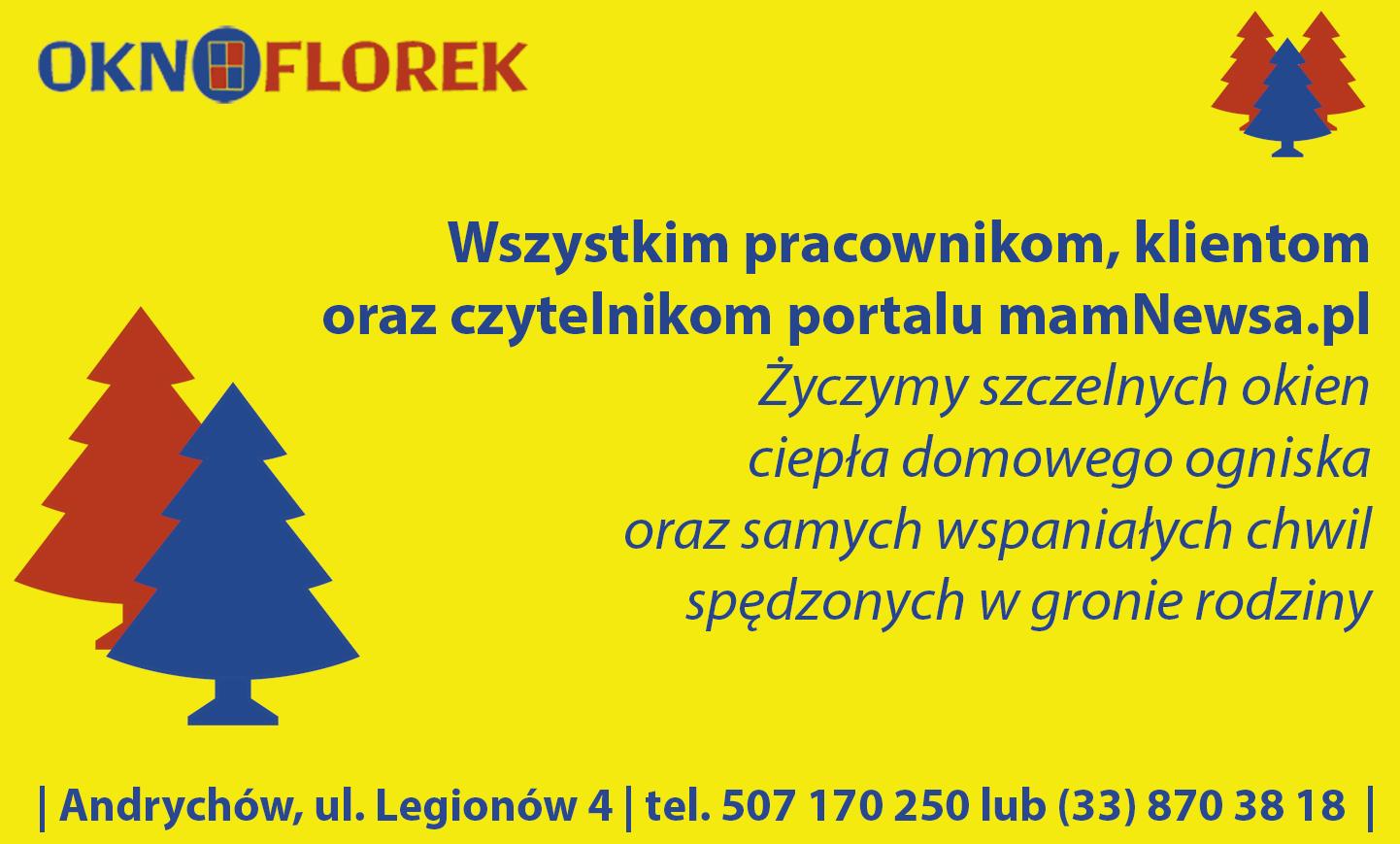 Życzenia świąteczne od firmy OKNO FLOREK z Andrychowa