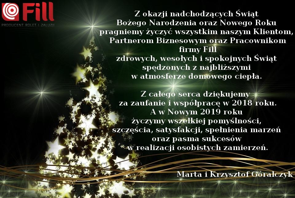 Życzenia świąteczno-noworoczne od firmy FILL