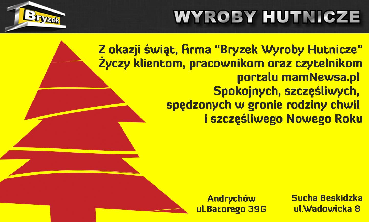 Życzenia świąteczne od firmy BRYZEK Wyroby Hutnicze