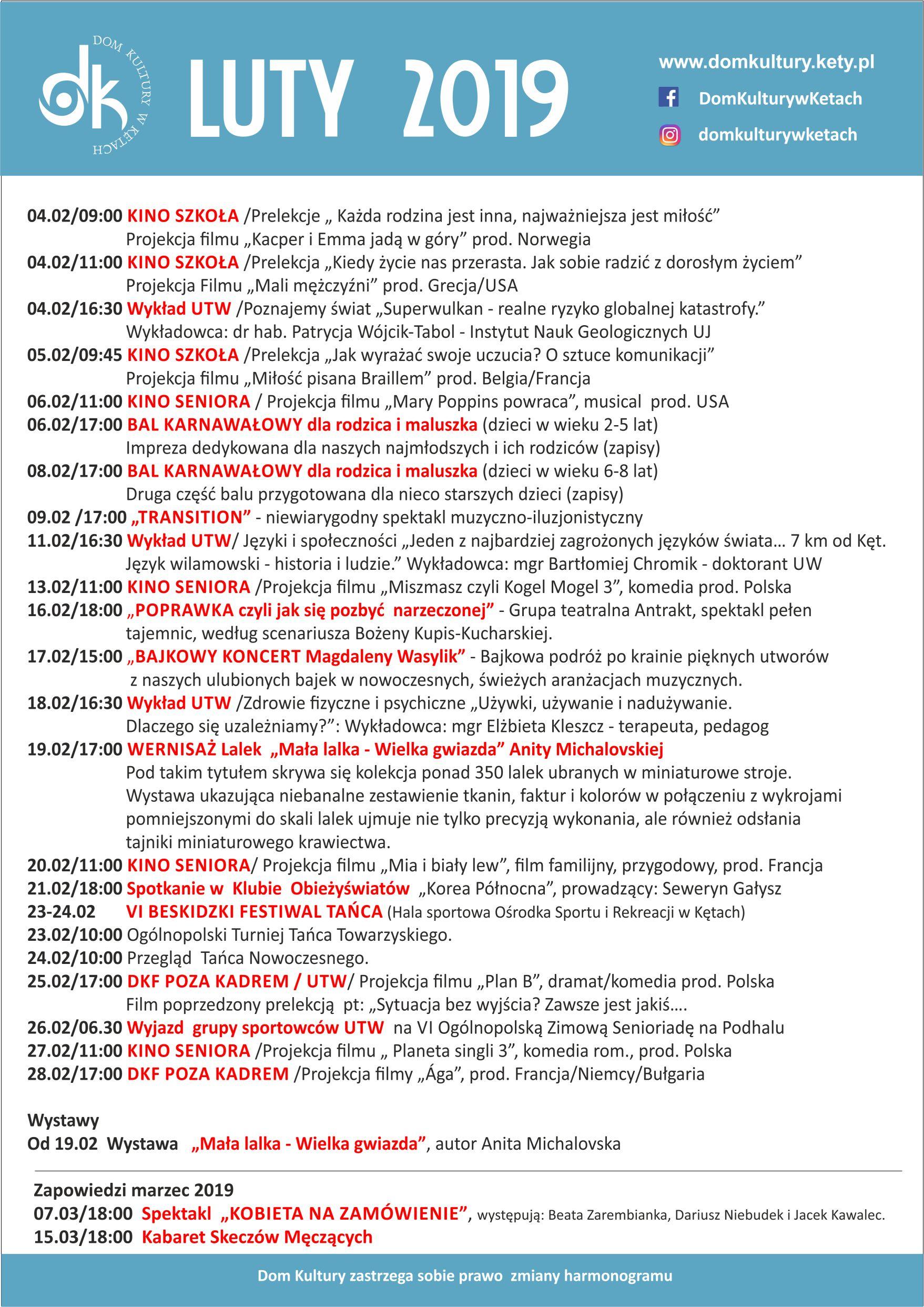 Wydarzenia i repertuar kina w Domu Kultury w Kętach w lutym