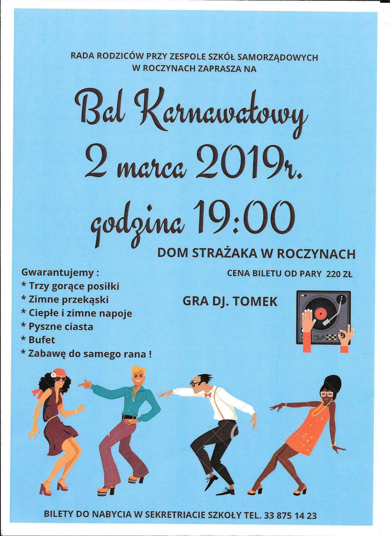 Zaproszenie na Bal Karnawałowy