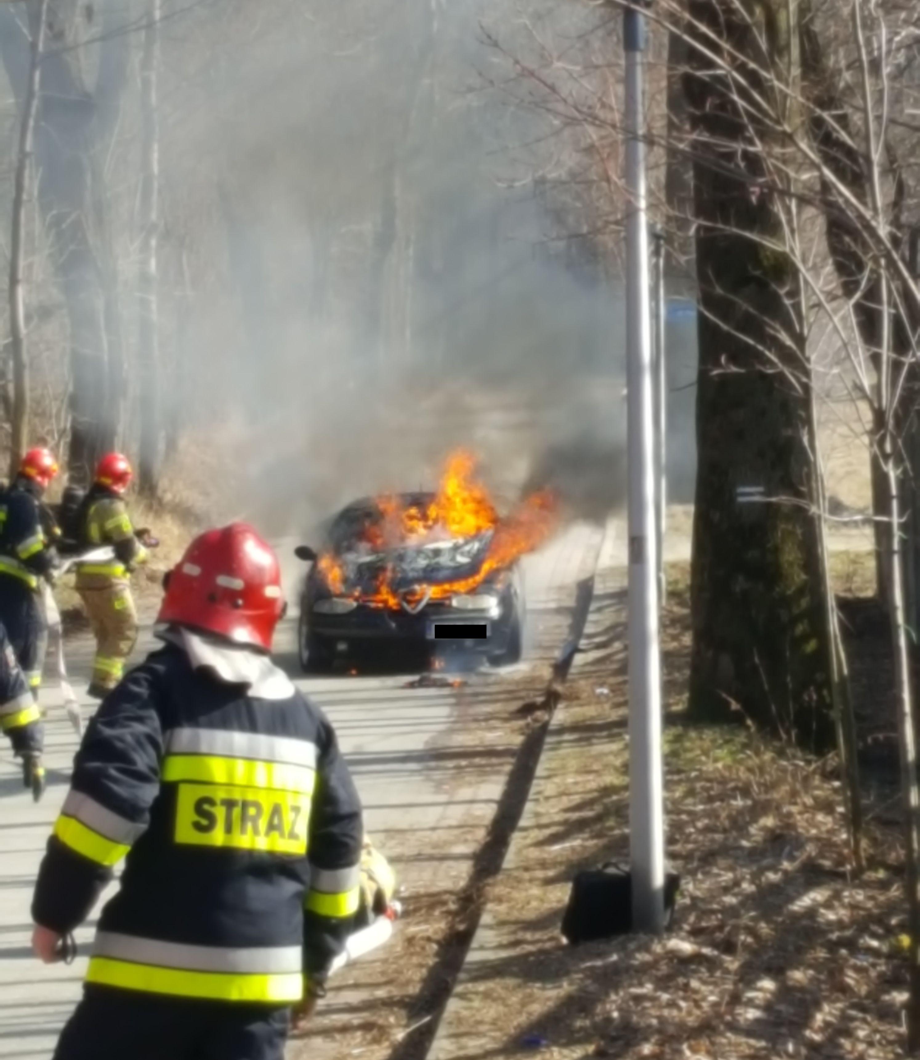 Pożar samochodu w Andrychowie [FOTO]