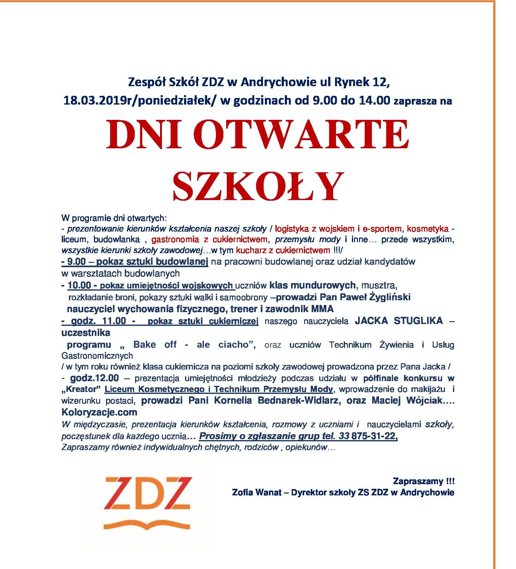 Zespół Szkół ZDZ Andrychów i ZDZ Wadowice zapraszają na Dni Otwarte