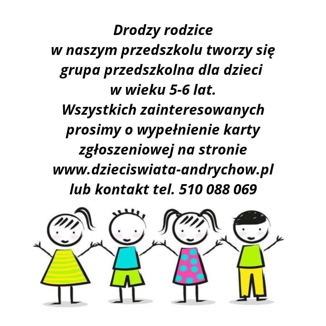 Nabór do grupy przedszkolnej dla dzieci w wieku 5-6 lat