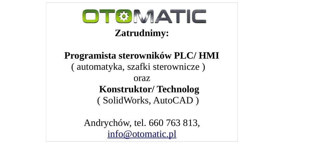 Oferty pracy z firmy OTOMATIC
