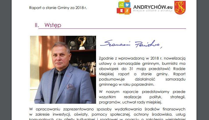 Po raz pierwszy burmistrz wygłosi raport o stanie gminy Andrychów