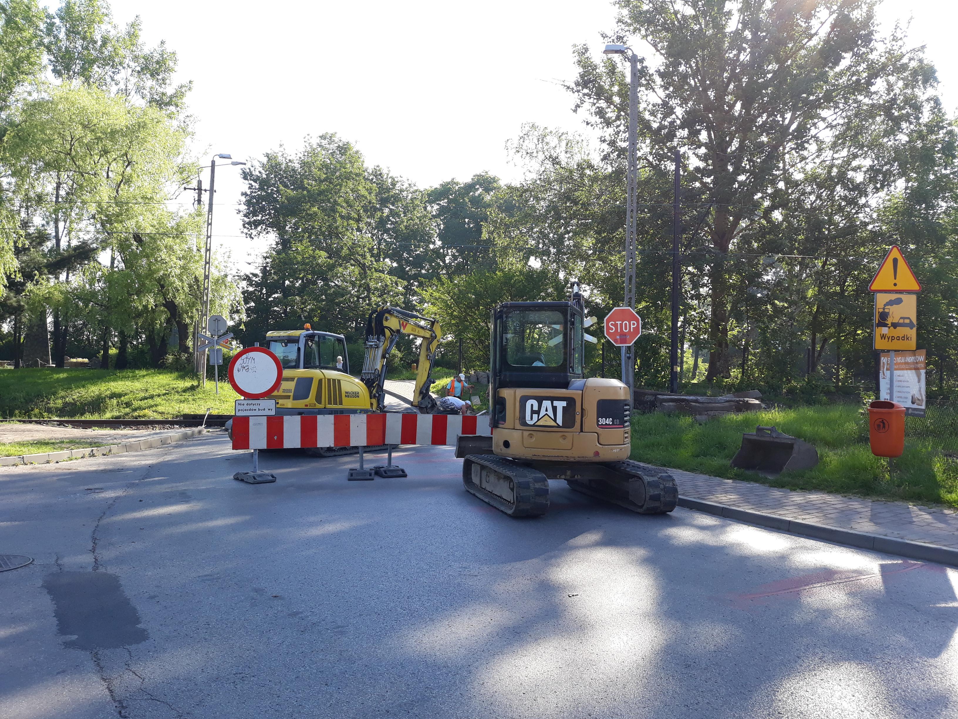 Zamknięty przejazd kolejowy w Andrychowie