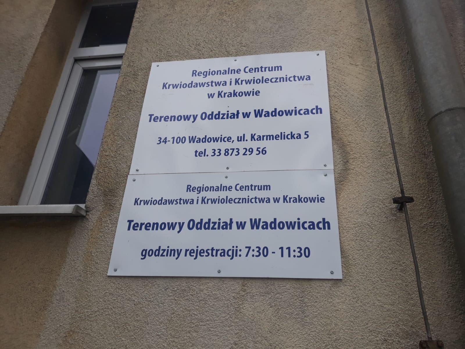 Centrum krwiodawstwa zostaje w Wadowicach
