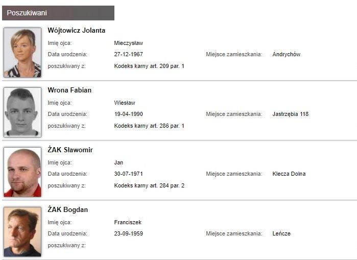 Aktualna lista osób poszukiwanych z Andrychowa, Wadowic i innych miejscowości powiatu wadowickiego