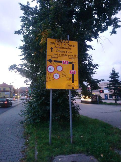 Remont drogi Andrychów - Zator, objazdy i błędne oznakowanie