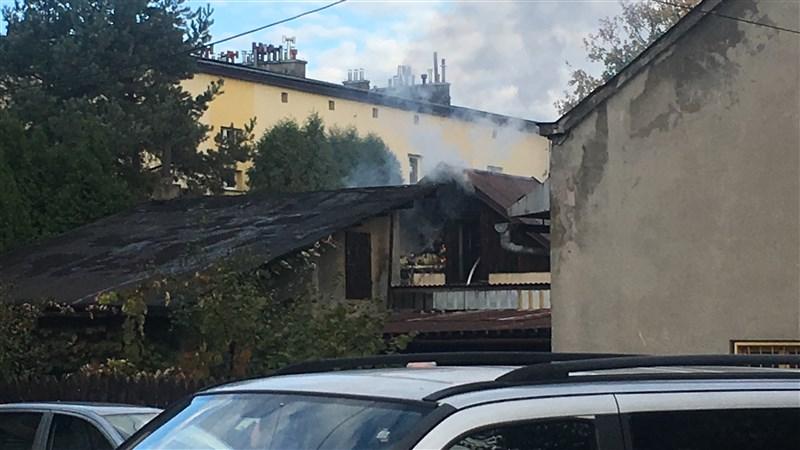 Pożar budynku na osiedlu