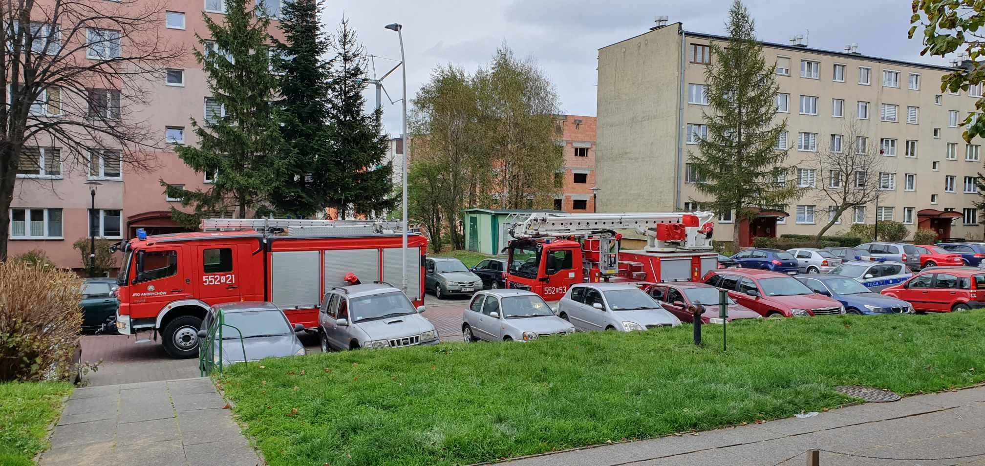 Zadymienie na klatce schodowej, interwencja strażaków