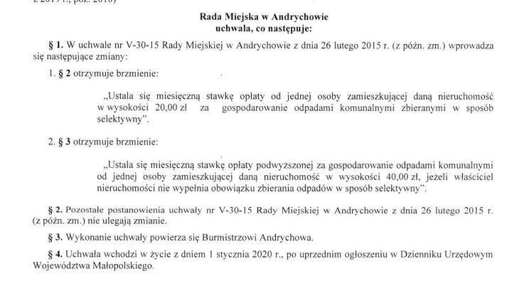 Jest propozycja podwyższenia opłaty śmieciowej w gminie Andrychów. Aż do 20 zł!