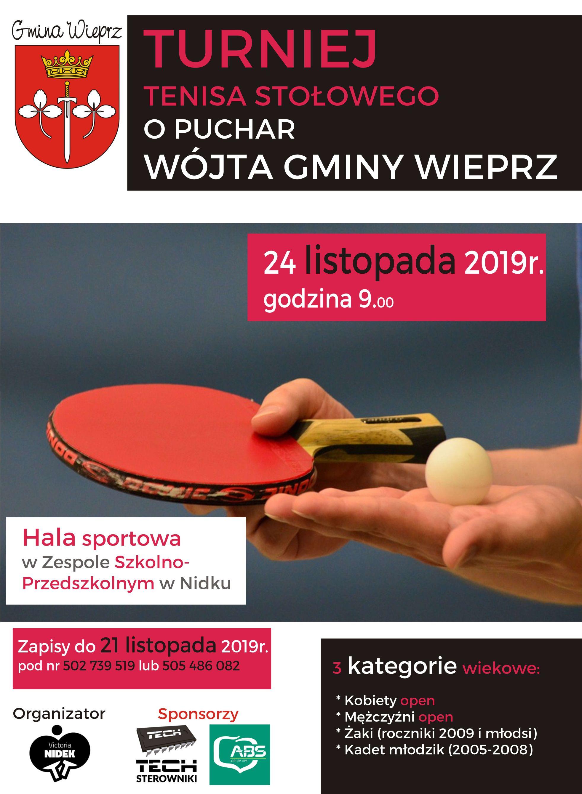 Zaproszenie na turniej tenisa stołowego o puchar wójta gminy Wieprz